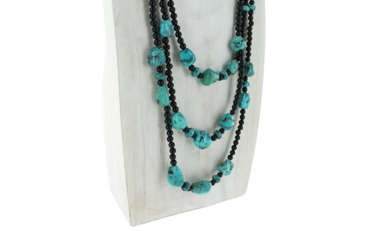 3 Strand Turquoise & Black Agate Necklace