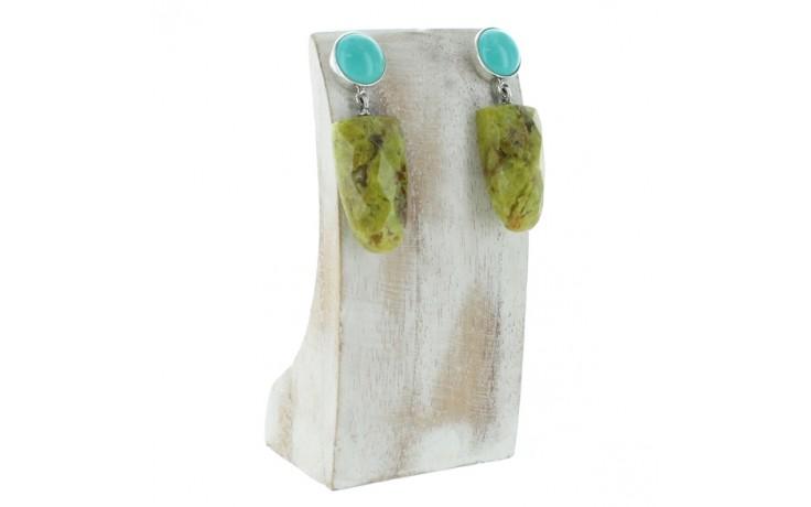 Turquoise & Green Opal Earrings