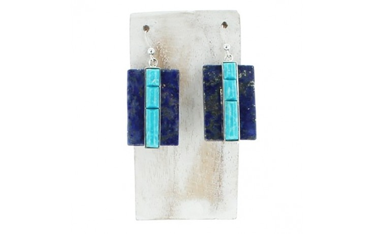 Lapis & Sonoran Blue Turquoise Earrings
