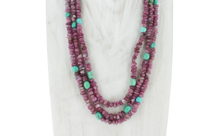 3 Strand Pink Tourmaline & Turquoise Necklace