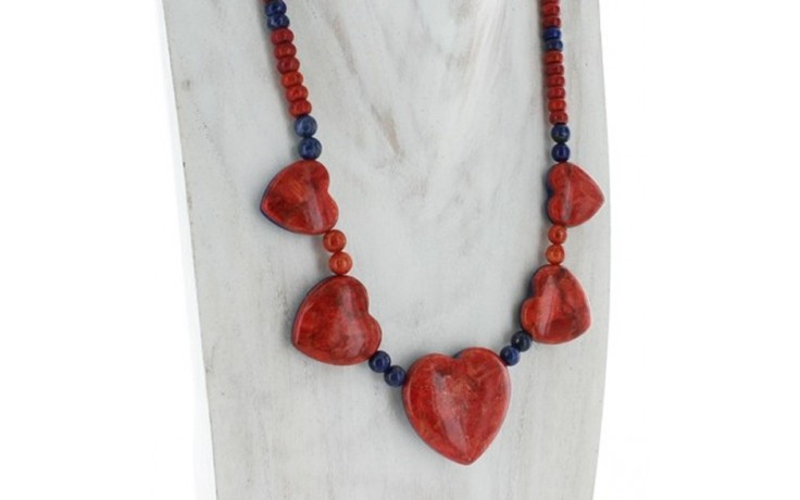 Lapis and Ginger Coral Reversible Necklace