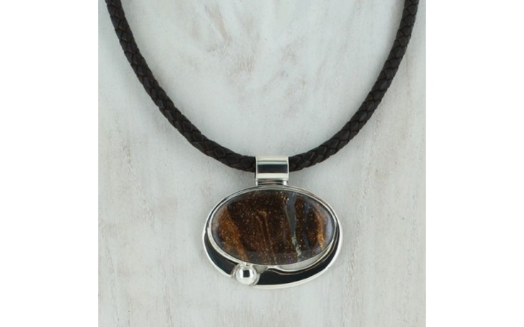 Boulder Opal Pendant & Leather Necklace