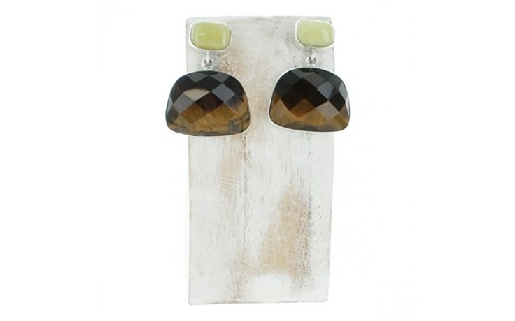 Tiger Eye & Yellow Opal Earrings