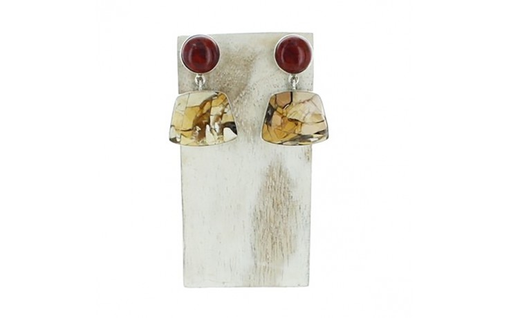 Brecciated Mookaite & Red Moss Agate Earrings