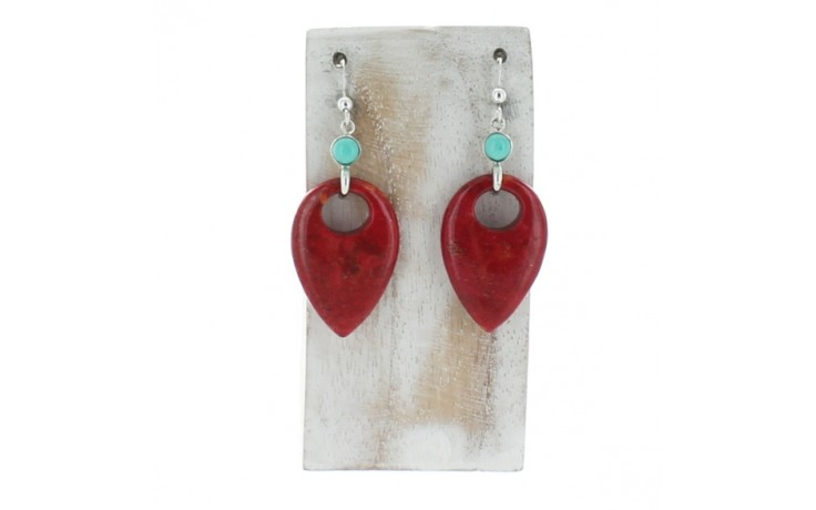 Red Coral & Turquoise Earrings