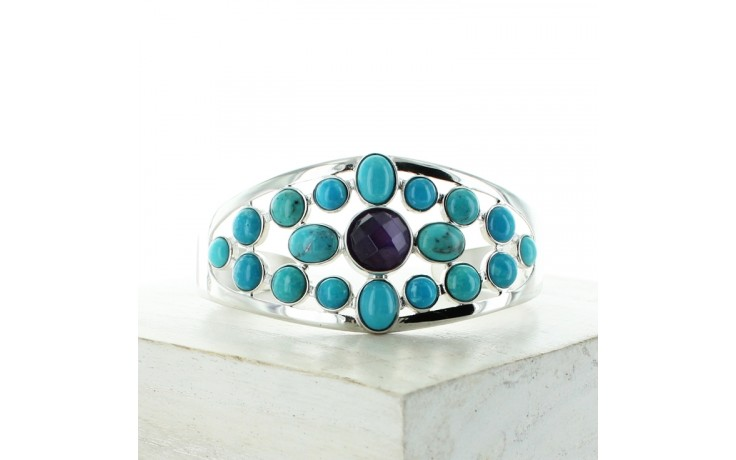 Amethyst & Andean Blue Turquoise Cuff