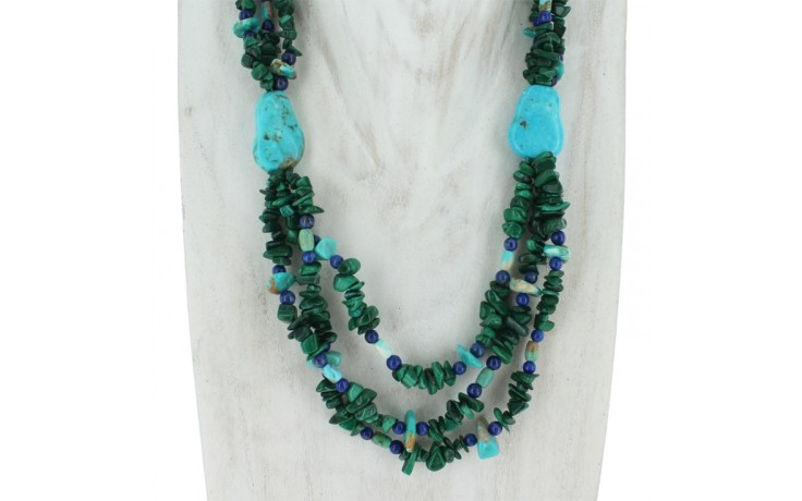 Malachite, Turquoise & Lapis Three Strand Necklace