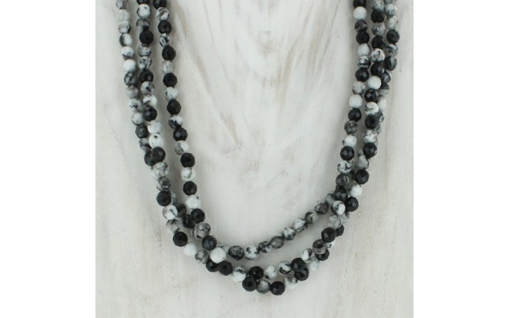 3 Strand Black Feather Stone & Black Agate Necklace