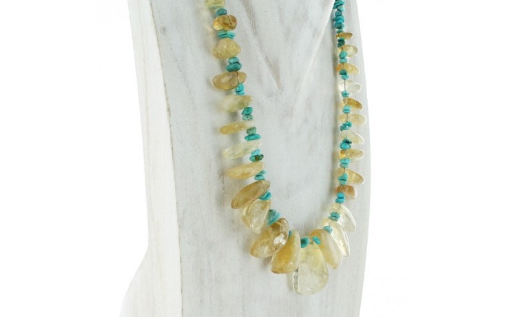 Citrine & Angel Peak Turquoise Necklace
