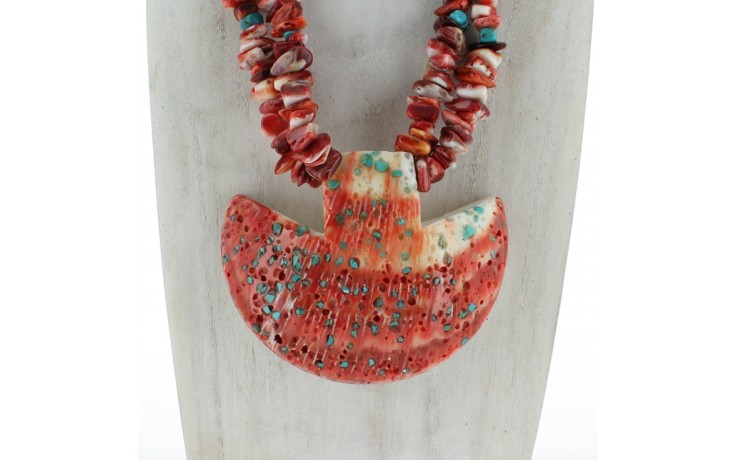 Red Spiny Oyster & Turquoise Necklace