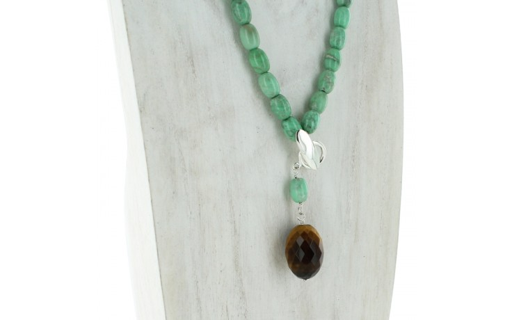 Tiger Eye & Variscite Necklace