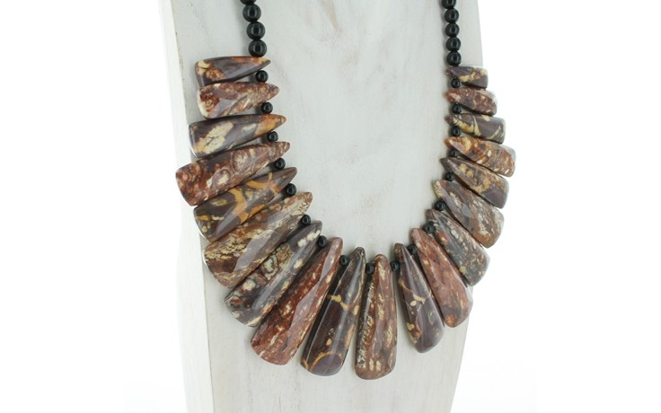 Shiitake Stone & Black Agate Necklace