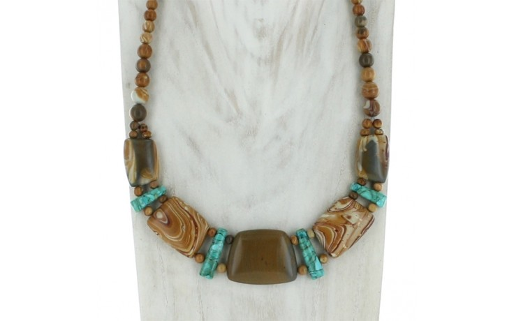 Wagyl Stone & Andean Blue Turquoise Necklace