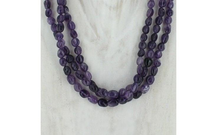 3 Strand Beaded Amethyst Necklace