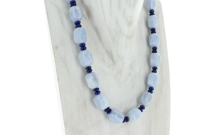 Blue Lace Agate & Lapis Necklace