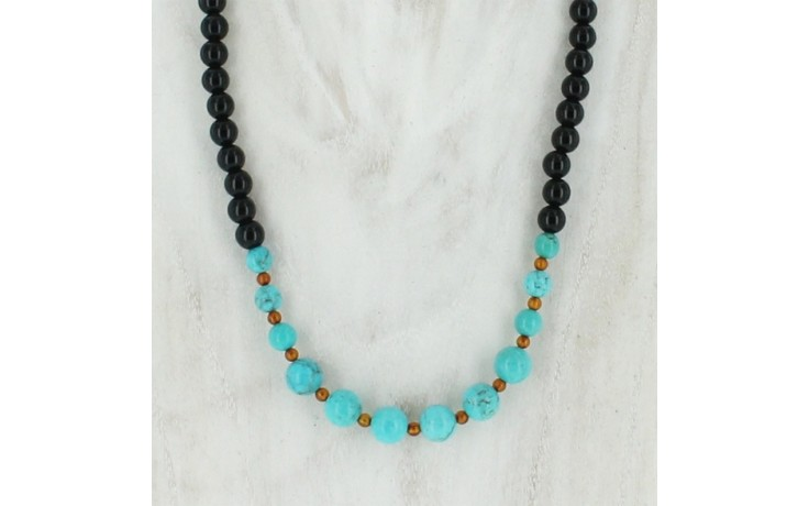 Turquoise & Agate Beaded Necklace