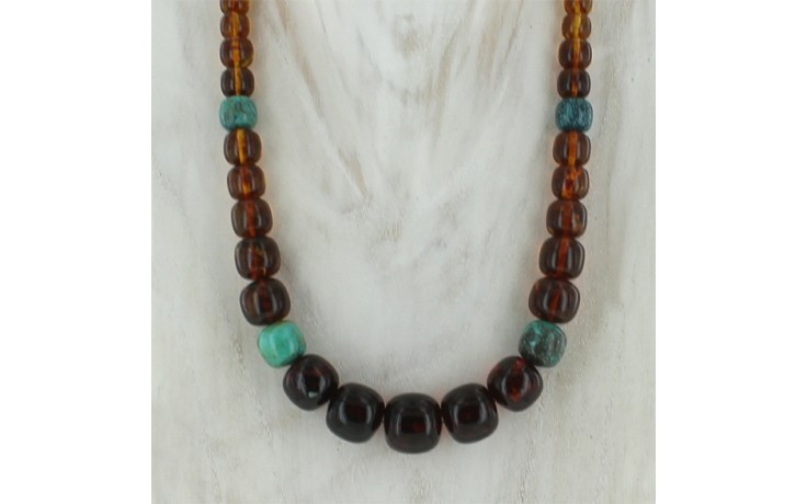 Amber & Hubei Turquoise Necklace