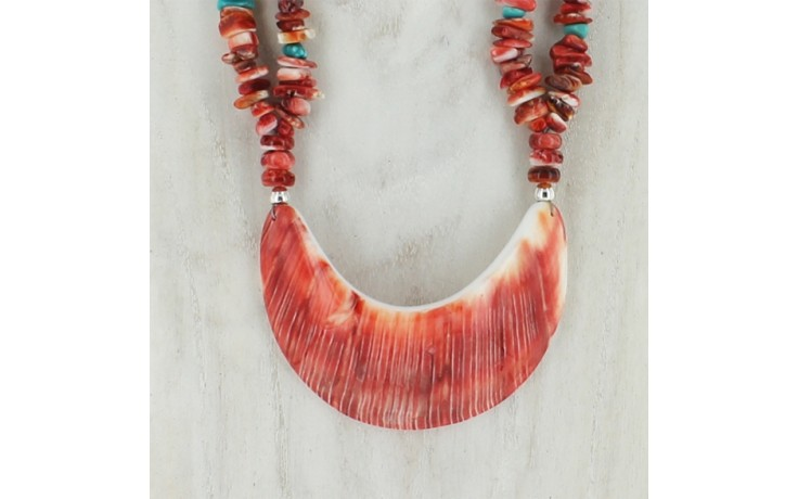 2 Strand Red Spiney Oyster & Turquoise Necklace