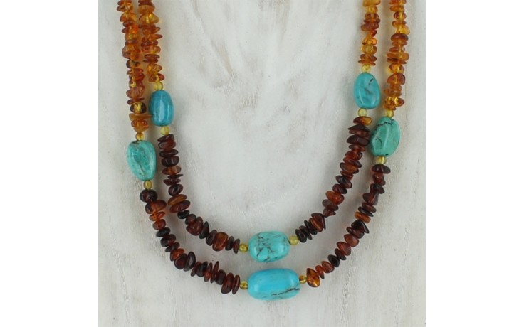 2 Strand Amber & Turquoise Necklace