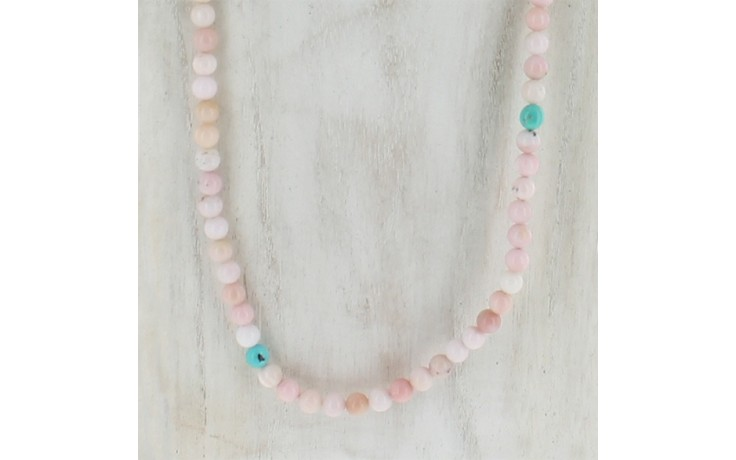 Peruvian Pink Opal & Turquoise Necklace