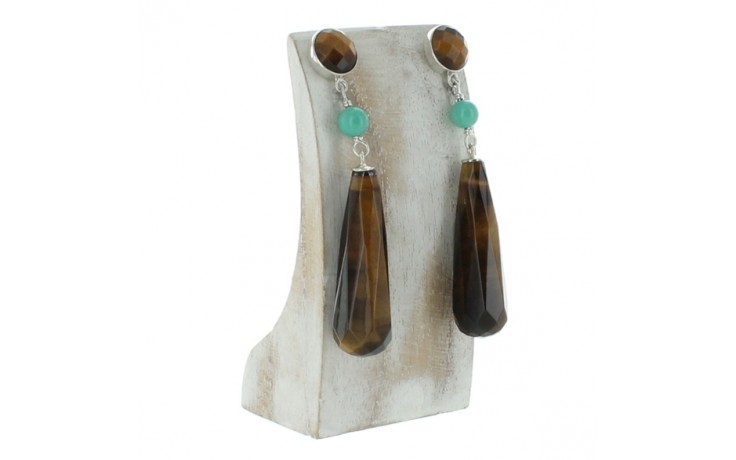Tiger Eye & Blue Ridge Turquoise Earrings