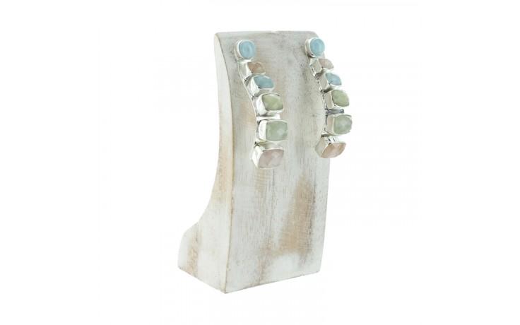 Aquamarine & Morganite Half Hoop Earrings