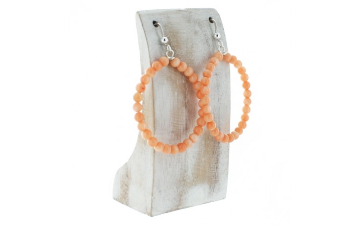 Salmon Sea Bamboo Hoop Earrings