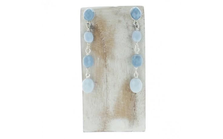 Dream Blue Opal Faceted Beaded Oval Earrings