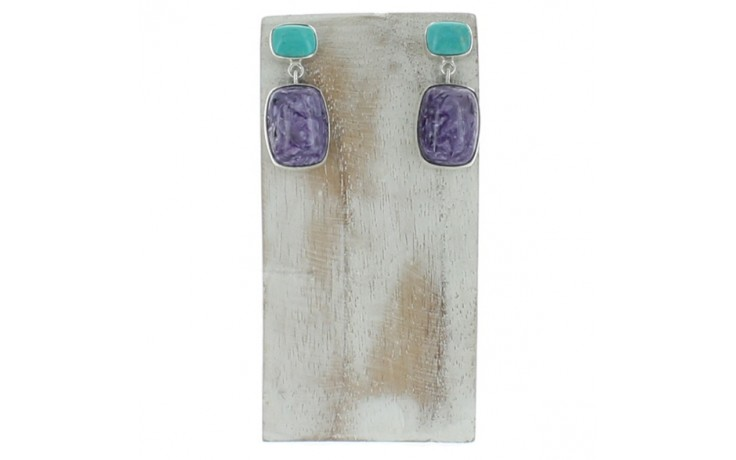 Charoite & Azure Peaks Turquoise Earrings