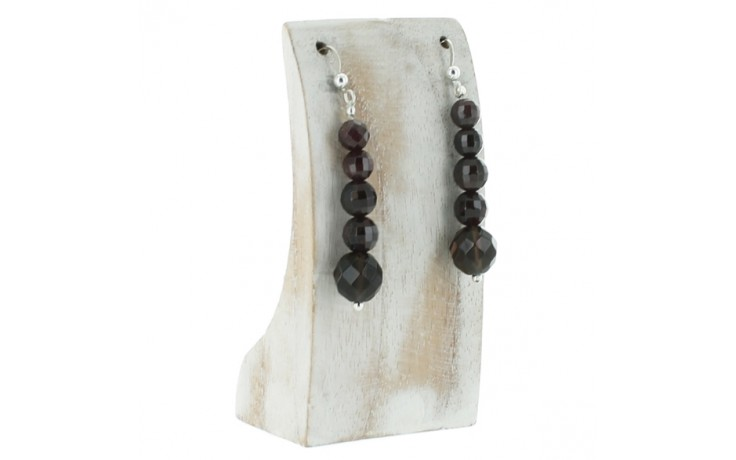 Garnet & Smoky Quartz Earrings