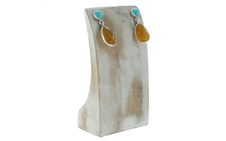 Mexican Opal & Campitos Turquoise Earrings