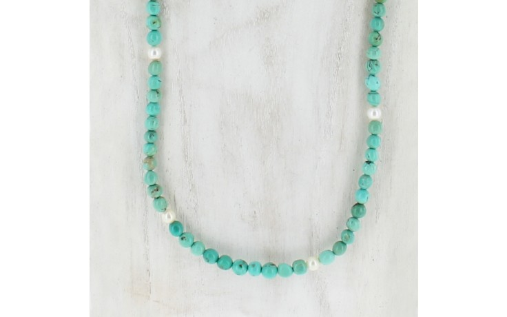 Andean Blue Turquoise & Cultured Pearl Necklace