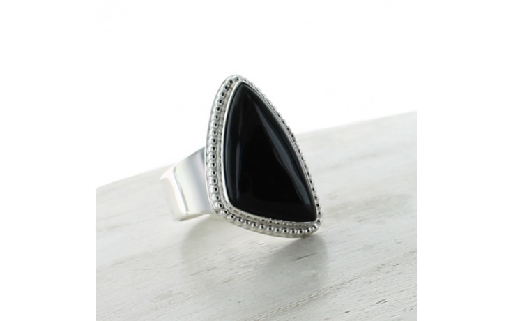 Black Agate Ring Size 10
