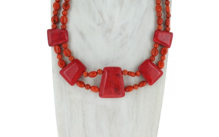 Red & Orange Coral Collar Necklace
