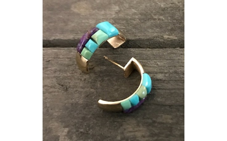 Turquoise Inlay and 14KT Gold Half Hoop Earrings