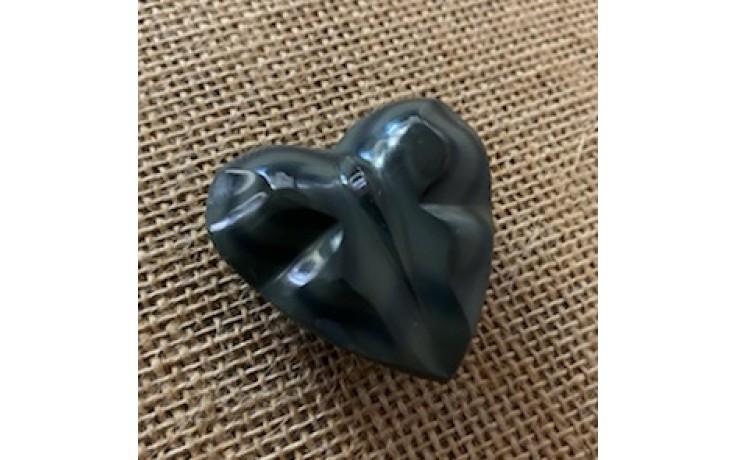 Butterfly Heart Carved Rainbow Obsidian