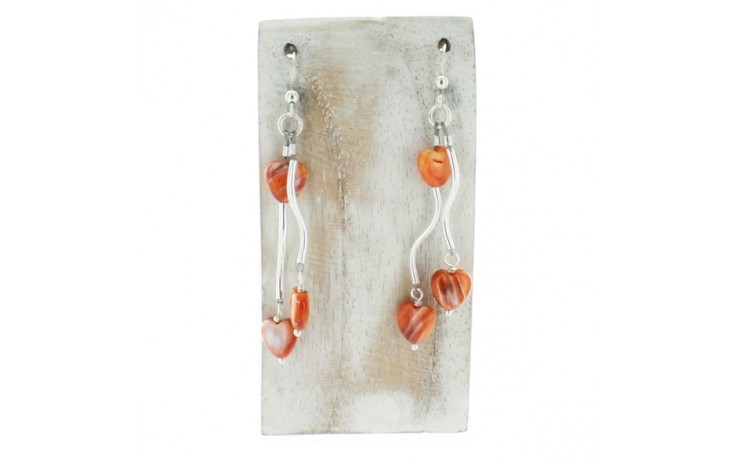 Spiny Oyster Hearts Dangle Earrings