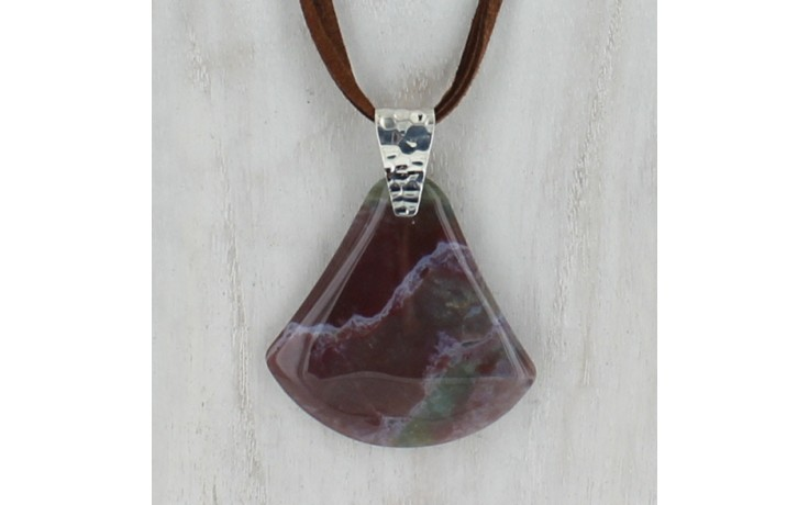 Fancy Jasper Pendant with Suede Cord Necklace