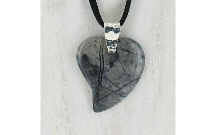 Picasso Stone Heart Pendant with Suede Cord Necklace