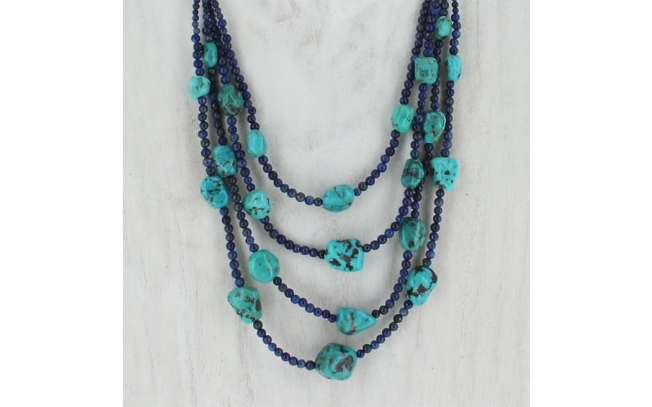 4 Strand Lapis & Turquoise Necklace