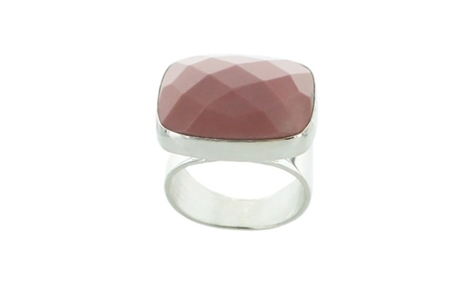 Faceted Australian Pink Opal Ring