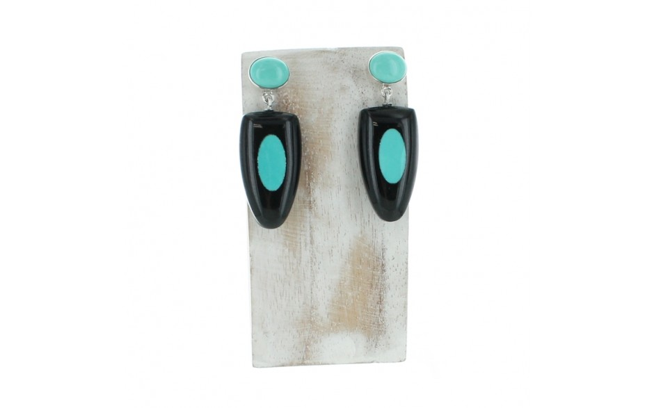 Black Tourmaline & Turquoise Earrings