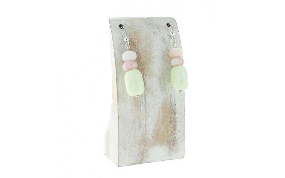 African Gaspeite & Peruvian Pink Opal Earrings