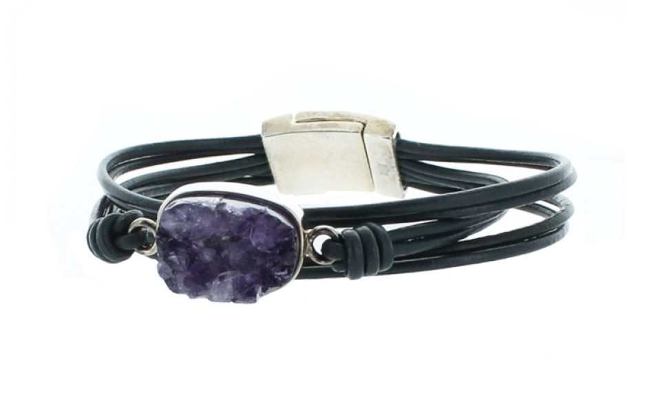 Amethyst Druzy Leather Bracelet