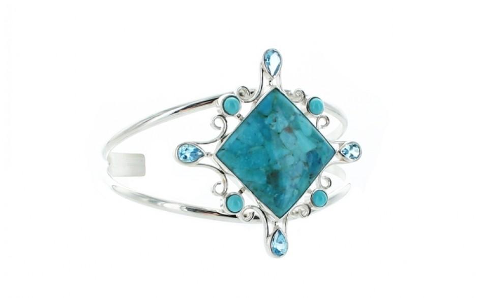 Turquoise & Blue Topaz Cuff