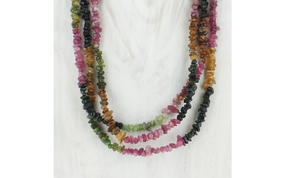 3 Strand Multi Colored Tourmaline Necklace
