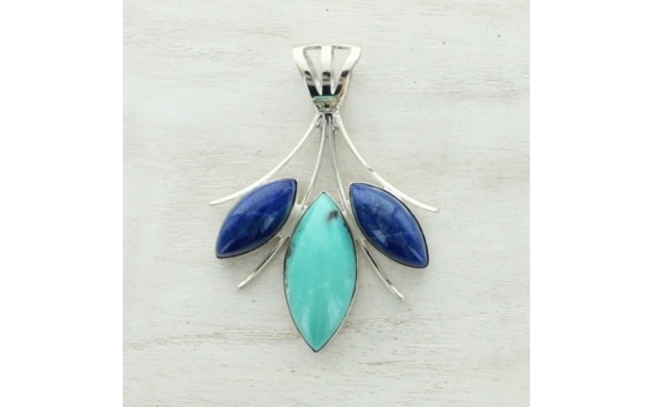 Turquoise & Lapis Pendant