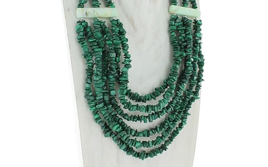 Malachite & Green Opal Six Strand Necklace