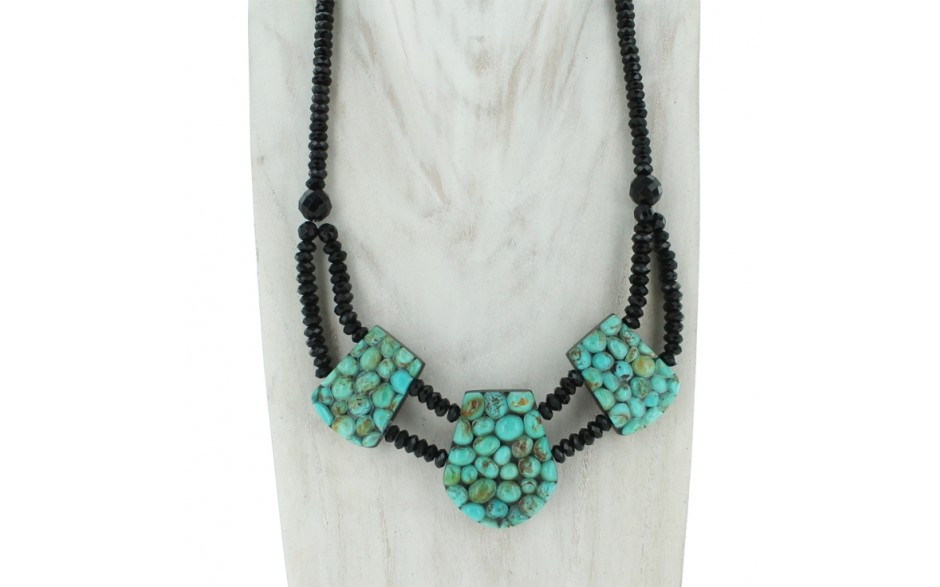 Turquoise, Black Tourmaline & Black Agate Reversible Necklace