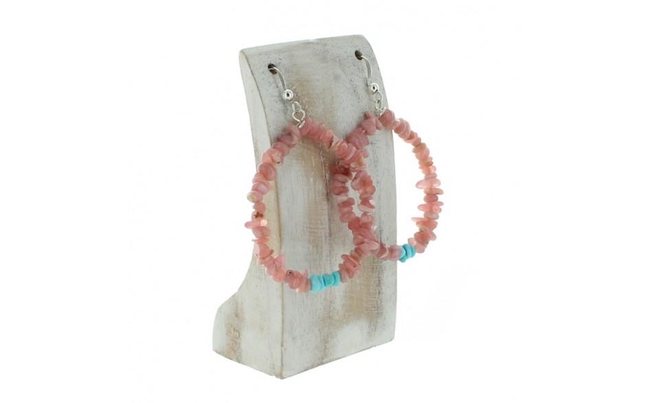 Rhodochrosite & Turquoise Hoop Earrings